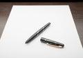 Fountain Pen on White Paper Royalty Free Stock Photo