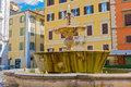 The fountain on the Piazza Farnese in Rome, Italy. Royalty Free Stock Photo