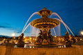 Fountain at the place de la concorde in paris by night france Royalty Free Stock Photos