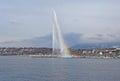 Fountain and rainbow on geneva lake view to with nd switzerland february Stock Photo