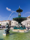Fountain on Rossio square, Lisbon Stock Image