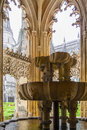 Fountain royal cloister of the batalha monastery in a masterpiece gothic and manueline art portugal unesco world Royalty Free Stock Image