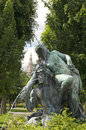 Fountain sculpture vienna austria park with museum in backgroun background quartier Stock Image