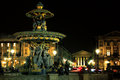 Fountain of seas at the concorde place of paris at night france Royalty Free Stock Images