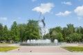 Fountain, In Space kosmonavata pilot named Yuri Gagarin, Republic of Mari El, Yoshkar-Ola, Jubilee Square. Travel Russ Royalty Free Stock Photo