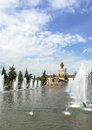 Fountain stone flower moscow in vdnh exhibition in Royalty Free Stock Photography