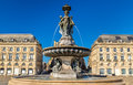 Fountain of the Three Graces at on the Place de la Bourse in Bordeaux, France Royalty Free Stock Photo