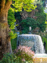 Fountain tivoli italy in gardens at historic villa d este an ancient roman holiday resort near rome Royalty Free Stock Photo