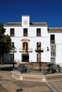 Fountain and town hall, Estepa, Spain. Stock Photography