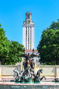 Fountain and UT Tower on University of Texas College Campus Royalty Free Stock Photo
