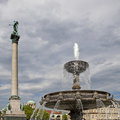 Fountain and Victory Column at Square Schloßplatz Royalty Free Stock Photography