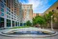 Fountains and buildings at Ryerson University, in Toronto, Ontar Royalty Free Stock Photo