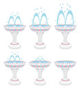 Fountains with different water pressures Royalty Free Stock Photo