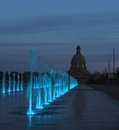 Fountains at legislative grounds edmonton alberta multicoloured Royalty Free Stock Photo