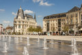 Fountains of main place of chartres town france april the on april in is beauty small with old cathedral Stock Photo