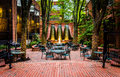 Fountains and outdoor dining area in downtown Lancaster, Pennsyl Royalty Free Stock Photo