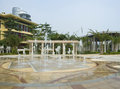 Fountains over decorated terrace, Sanya Royalty Free Stock Photos
