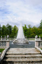 Fountains in Petergof park. Fountains Pyramid Royalty Free Stock Photo
