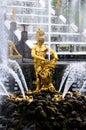 Fountains in Petergof park. Fountains Samson Royalty Free Stock Photo
