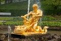 Fountains in Petergof park, Saint-Petersburg Royalty Free Stock Photo