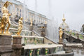 Fountains at peterhof palace st petersburg grand cascade of in russia Stock Image