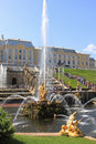 Fountains of peterhof russia view the grand cascade and sculptural composition samson and the lion Stock Image