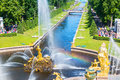 Fountains and Sea Channel in Peterhof Palace, Saint Petersburg Royalty Free Stock Photo