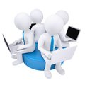 Four 3d man with laptop sitting on a blue disk Royalty Free Stock Photography
