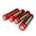 Four AA batteries Stock Image