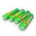 Four AA batteries Stock Photo