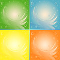 Four abstract backgrounds in different colors identical vector illustration Stock Photos