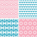 Four abstract pink blue folk motives seamless vector patterns set in matching color scheme Royalty Free Stock Photo