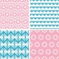 Four abstract pink blue folk motives seamless