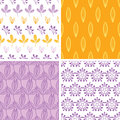 Four abstract pink purple yellow folk leaves Stock Images