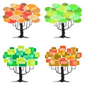 Four abstract trees graphic elements d vector element Royalty Free Stock Photos