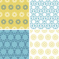 Four abstract yellow blue florals seamless pattern Royalty Free Stock Photo