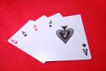 Four aces ace cards displayed on the gamble table Royalty Free Stock Image