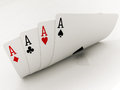 Four aces cards on a white background Royalty Free Stock Photography