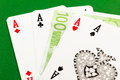 Four aces gamble euro money poker Stock Photos