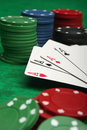Four aces with gambling chips Royalty Free Stock Photo
