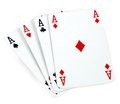 Four aces isolated on white Royalty Free Stock Photo