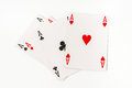 Four aces isolated on white background Royalty Free Stock Photo