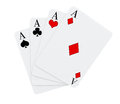 Four aces playing cards suits white background Royalty Free Stock Photography
