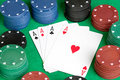 Four aces and poker Stock Photography