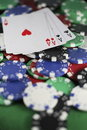 Four Aces and Poker Chips Royalty Free Stock Photo