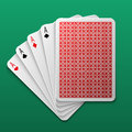 Four aces poker playing card on game table. Casino big win gamble vector background Royalty Free Stock Photo