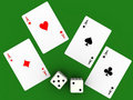 Four aces and seven points Royalty Free Stock Photo