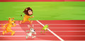 Four animals doing a race Royalty Free Stock Photo