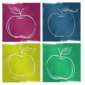 Four apple icons, freehand painterly drawing Royalty Free Stock Photos
