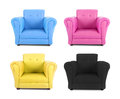 Four armchairs with the colors of four color process Royalty Free Stock Photo